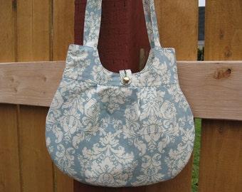 Handmade cotton purse, lined bag, blue floral,