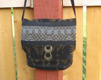southwestern wool black and brown bag tote