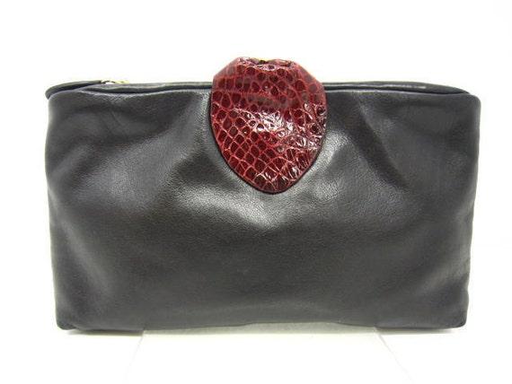 Vintage LANCEL calfskin black clutch purse with wine color croc embossed applique. So chic