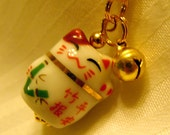 Lucky Bamboo Porcelain Beckoning Cat Maneki Neko Phone/Handbag Charm with Braided Strap/Lanyard and bell