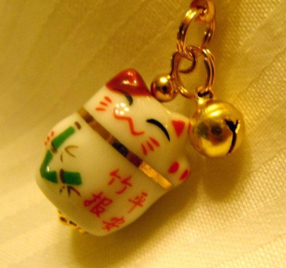 Lucky Bamboo Porcelain Beckoning Cat Maneki Neko Phone/Handbag Charm with Braided Strap/Lanyard and bell