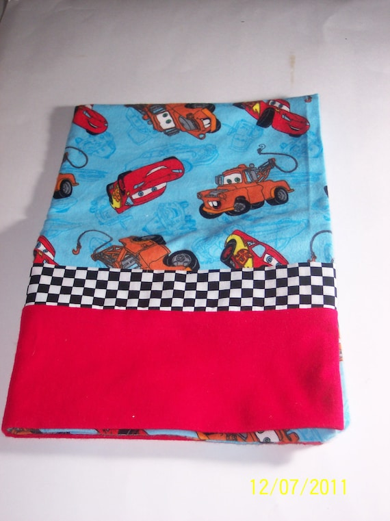 Boy's Soft Flannel Cars Pillowcase with Checkered Flag Trim & Red Cuff