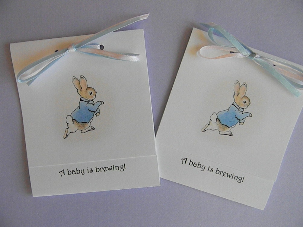 baby shower tea bag party favors peter by mylittleowldesigns