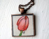 Original Art Pink Tulip Necklace 2, Watercolor Art Necklace, Hand Painted Pendant