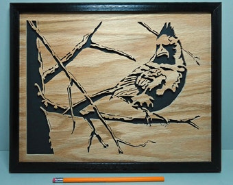 Cardinal on Tree Limb  - Framed