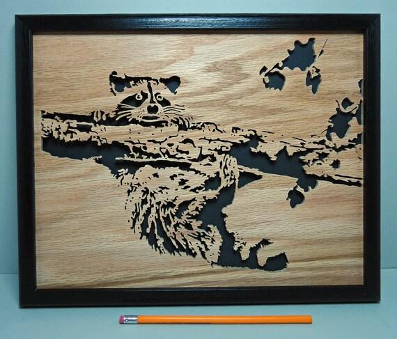 Raccoon Up a Tree - Framed