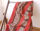 Vintage Tribal Blanket, Tribal Textile, Reversible, Wool, Latin American, Brown, Orange, Tan