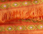 Woven Tribal Pattern Fringe Trim, Bright Orange, OVER 10 YARDS