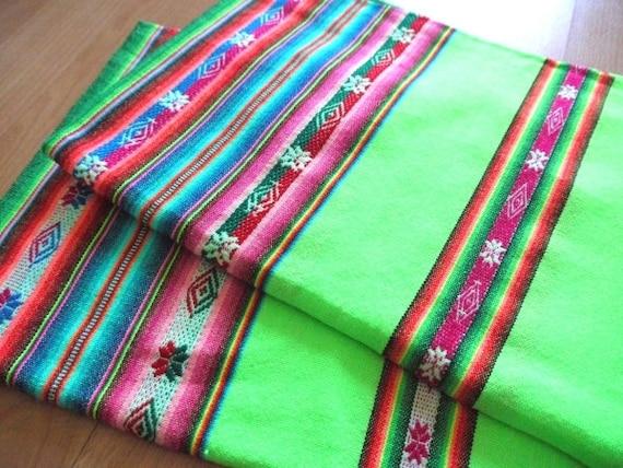 Tribal Fabric, Latin American, Navajo, Ethnic, Stripes, Bright Green, over 1 Yard