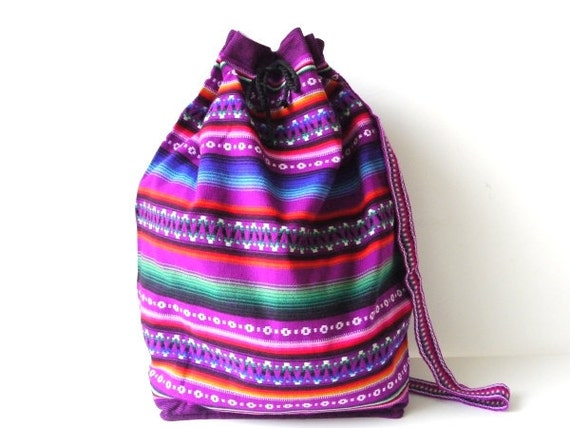 Tribal Fabric Backpack, Latin American, Peru, Bright Purple Stripes