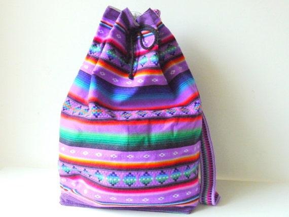 Tribal Fabric Backpack, Latin American, Peru, Pale Purple Stripes