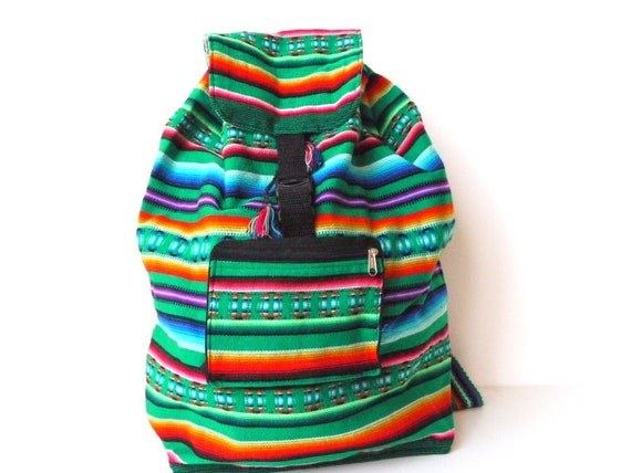 Tribal Fabric Backpack, Latin American, Peru, Bright Green Stripes