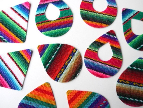 Peruvian Tribal Fabric Pre-Cut for Earrings, Pendants, Jewelry Making, 10 Pieces