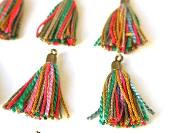 Colorful Jewelry Tassels, Charms, Pink, Yellow, Green, 12 Pieces