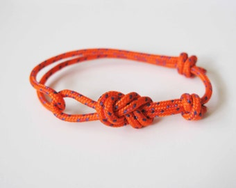 Rope Bracelet - Unisex Figure 8 Rock Climbing Bracelet - Orange