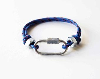 Carabiner Link Rope Bracelet - Blue