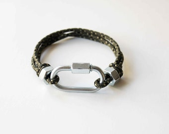 Oval Carabiner Style Rope Bracelet