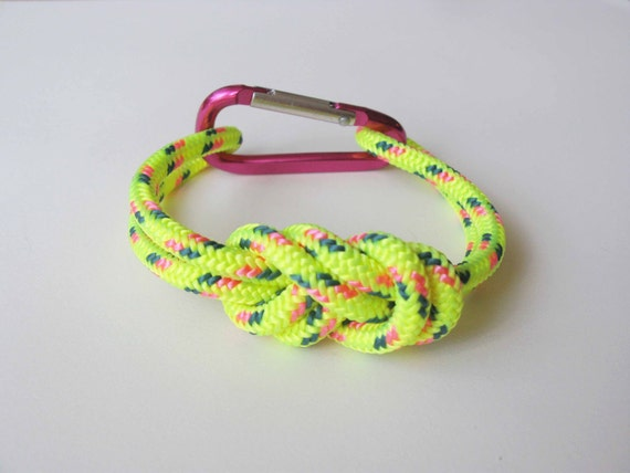 Chunky Bracelet - Figure 8 knot with Carabiner - Neon Yellow and Pink