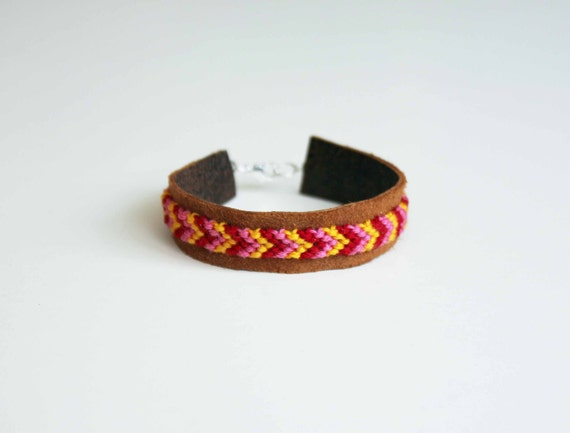 Friendship Bracelet Mini Cuff - Brown Leather Red Pink Yellow