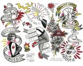 ROCKY HORROR Picture Show Tattoo Flash Sheet by Kristyn Michele Bat