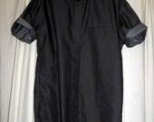 Black revamped denim effect shirt w/ studded collar