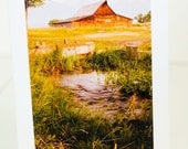 Grand Tetons in Wyoming with a barn in front, greeting card, handmade, photographic, blank, vertical
