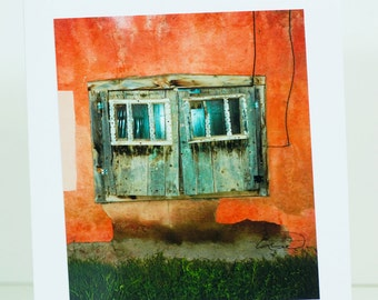 Window, old, Taos, New Mexico, terra cotta, greeting card, photographic, blank, green grass, paper, vertical