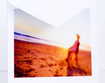 Woman, Sitting, Beach, Hat, Ocean, Chair, Greeting Card, Santa Barbara, CA, Photographic, Handmade, Blank, Horizontal