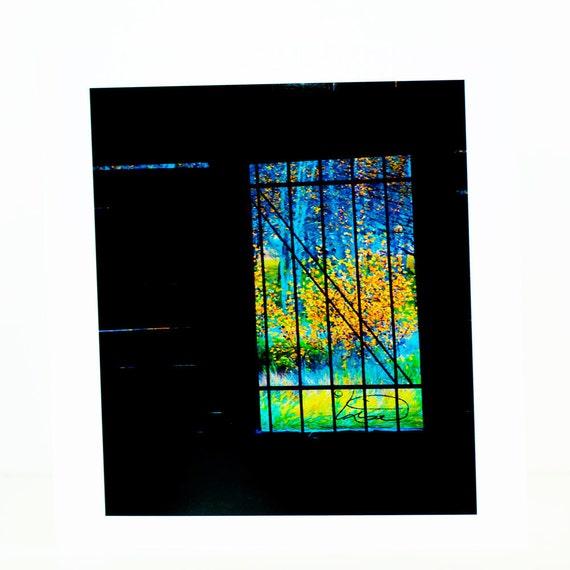 Aspen trees, photographic greeting card, framed in window, orange, green, blue, black, blank, vertical