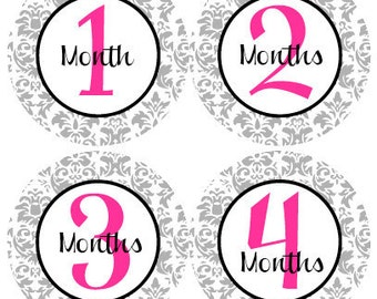 BABY MONTH STICKERS - Baby Month Milestone Stickers - Pink, Black & Gray Damask Baby Month Stickers - Rabecca