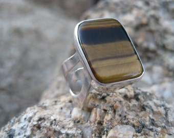 Tigers Eye and Silver Spiral Ring