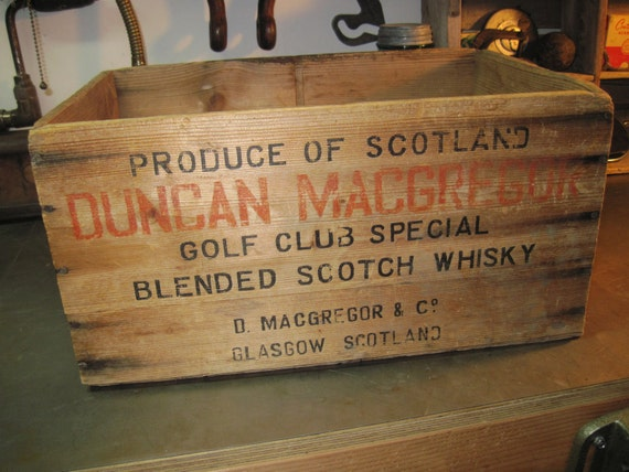 Vintage Wooden Whisky Crate:  Duncan MacGregor Golf Club Special Blended Scotch Whisky