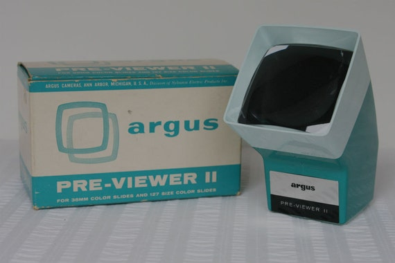 Slide Viewer Argus Pre-Viewer 2 Beautiful Teal Color, With Box