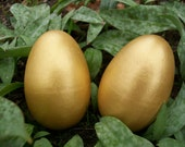 2 Large Solid Wood Golden Egg Toys