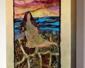 RESERVED FOR Courtney  Turtle Island, Sky Woman, Nokomis, art quilt on canvas