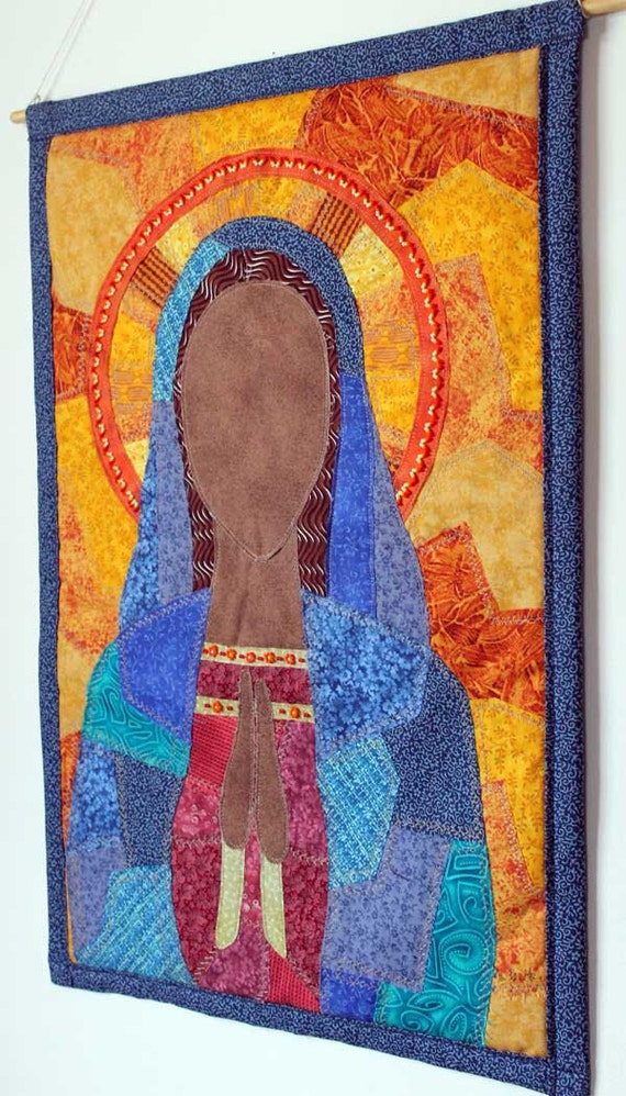Wall hanging art quilt of Virgin Mary