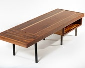 Teak and mahogany reclaimed wood coffee table