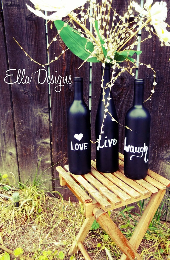 Set of 3 Chalk Board Wine Bottles Vase, Table Decor, Wedding Table Numbers
