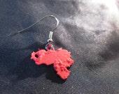 Venezuela Terrain Earring - 3D Printed Red Polymer