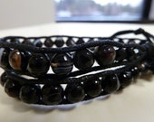 ON SALE Wrap Bracelet with Zebra Jasper Beads on Black Cotton Cord