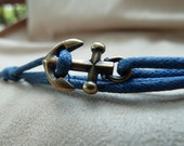Woven Waxed Cotton Cord Wrap Bracelet with an Antique Brass Anchor featuring adjustable slip knot