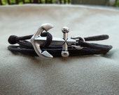 Brown Waxed Cotton Cord Wrap Bracelet with large Silver Anchor featuring adjustable slip knot