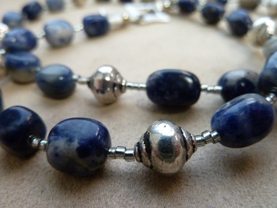 ON SALE Beaded Necklace with Sodalite and Silver Plated Beads