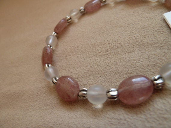 ON SALE Beaded Bracelet with Rose Adventurine, Clear Opal Glass and Decorative Silver Beads