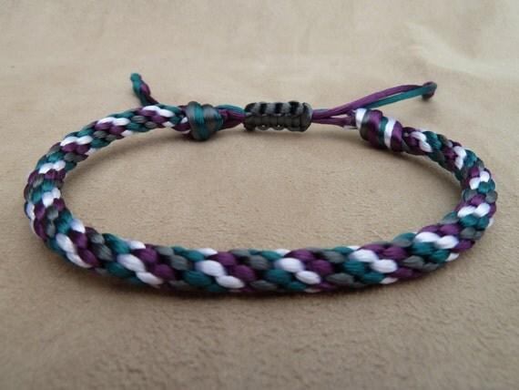 Purple, Green, Grey & White Spiral Design Kumihimo Round Braided Bracelet with Sliding Adjustable Closure