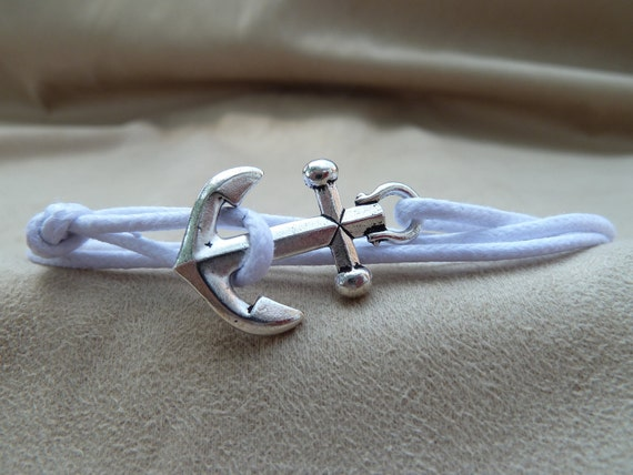 White Waxed Cotton Cord Wrap Bracelet with large Silver Anchor featuring adjustable slip knot