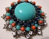 Vintage Crown Trifari Faux Turquoise and Coral Brooch