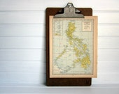 Vintage Map, Philippines Alaska and Hawaii, 1940s Vintage Map in Blue and Yellow