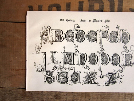 Antique Typography Page, Alphabet Letter Book Plate, 12th Century Bible Type Setters Signist Page from 1906