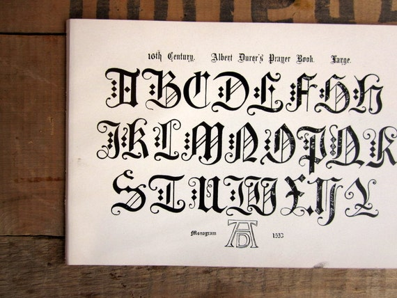 Antique Typography Page, Alphabet Letter Book Plate, 16th Century Prayer Book Script Page from 1906